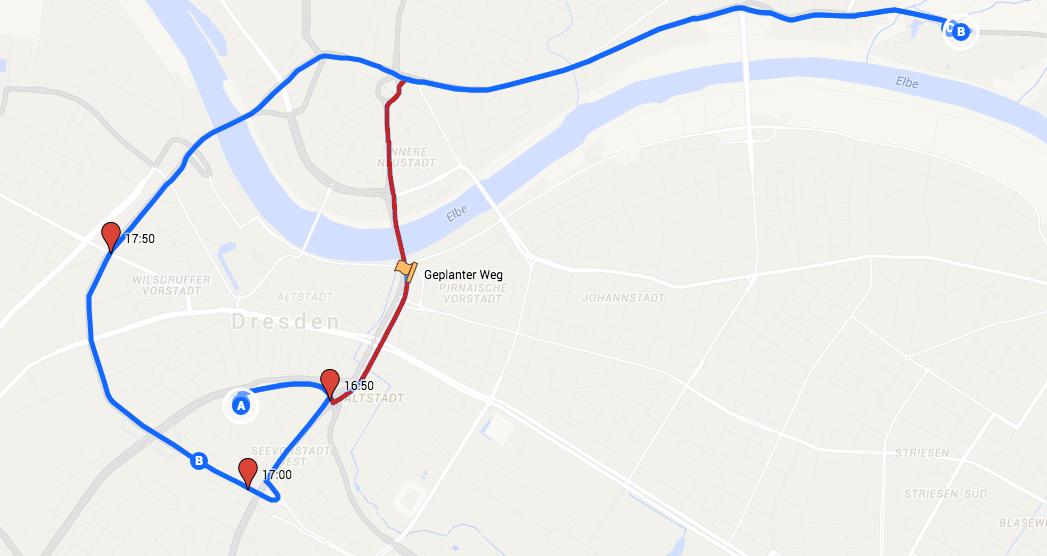 Rot: Geplante Route Blau: Umständlich kommt man auch ans Ziel
