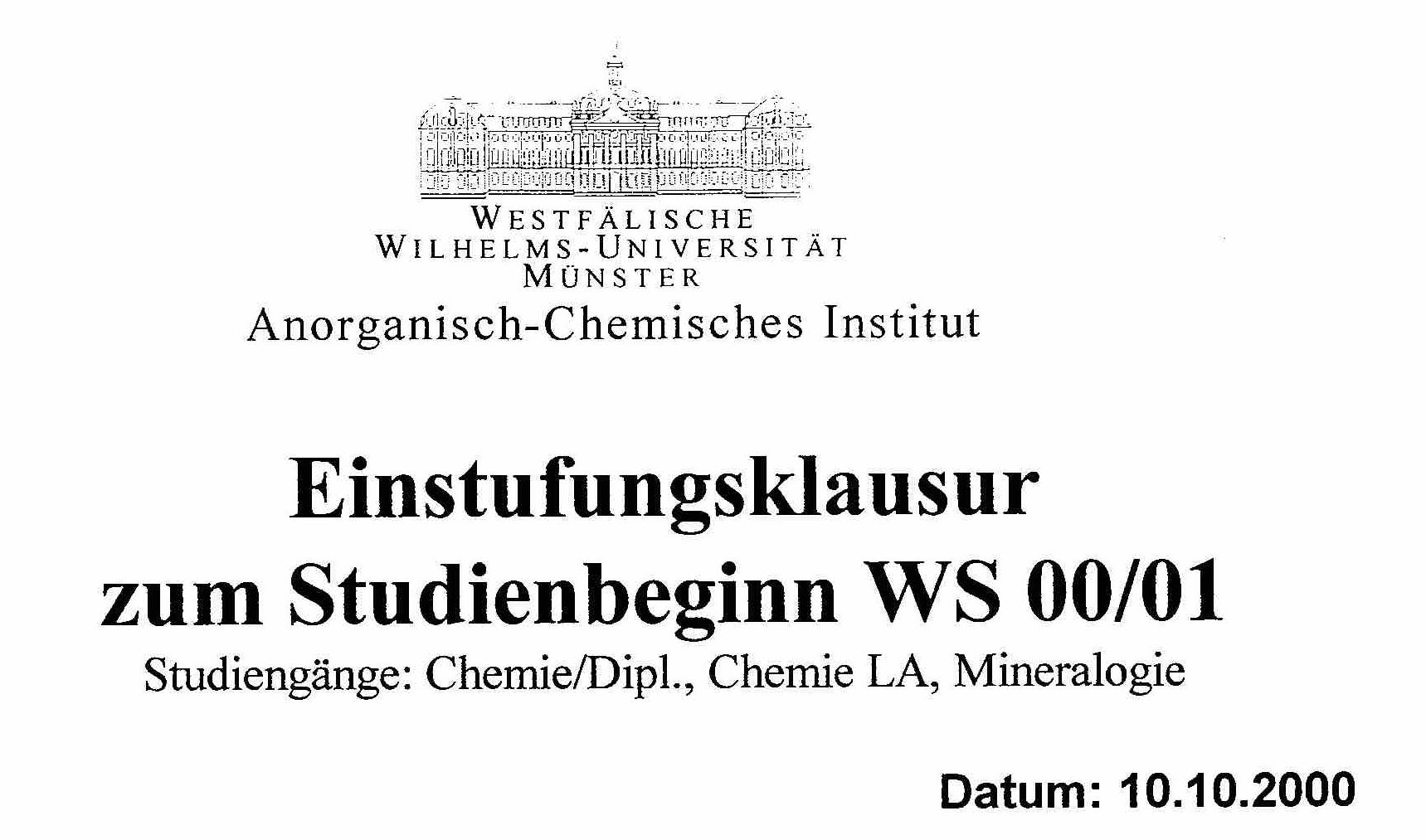 Datum der Chemie