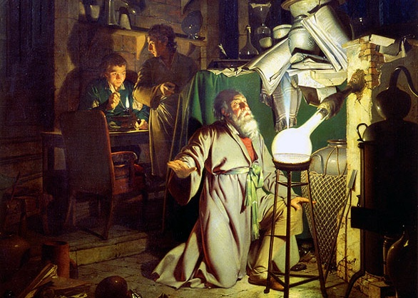 Brandt, wie er den Phosphor entdeckt (hier künstlerisch interpretiert von Joseph Wright of Derby)