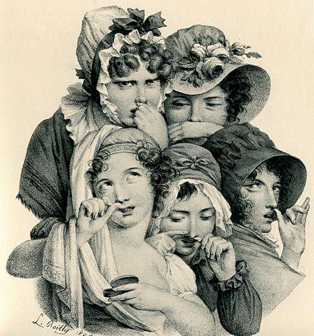 L. Bouilly: Schnupfende Damen in Frankreich
