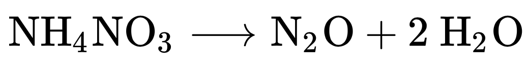 Ammoniumnitrat zerfällt bei 300 °C zu Lachgas und Wasser